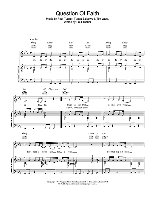 The Lighthouse Family Question Of Faith sheet music notes and chords. Download Printable PDF.