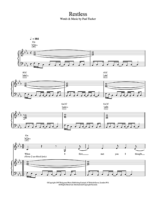 The Lighthouse Family Restless sheet music notes and chords
