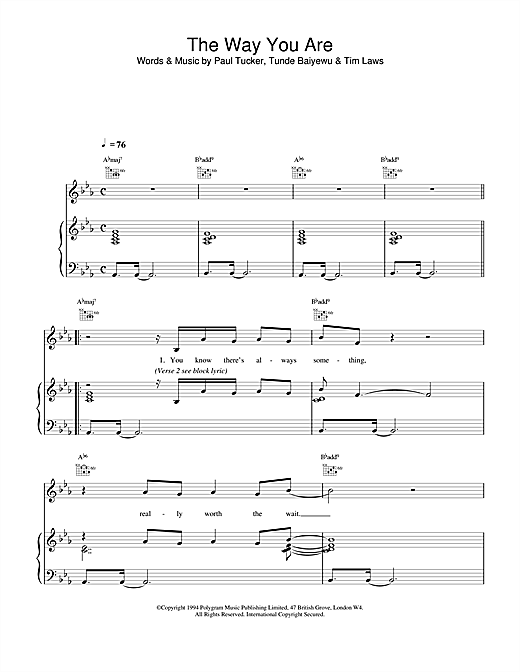 The Lighthouse Family The Way You Are sheet music notes and chords