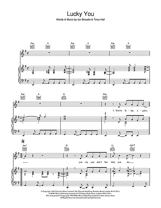 The Lightning Seeds Lucky You sheet music notes and chords. Download Printable PDF.