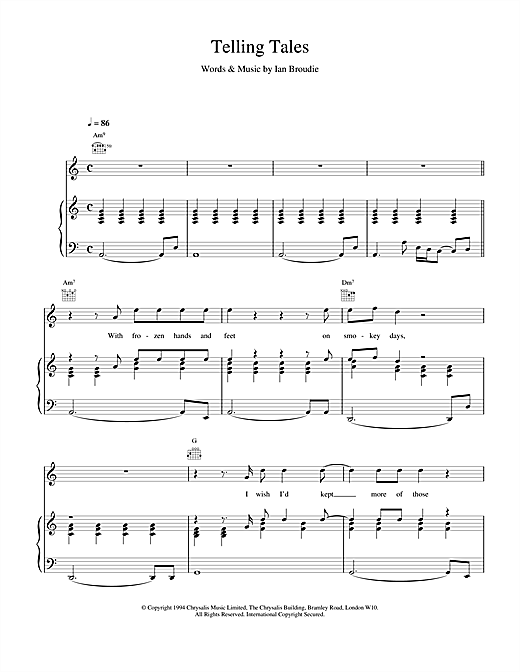 The Lightning Seeds Telling Tales sheet music notes and chords. Download Printable PDF.
