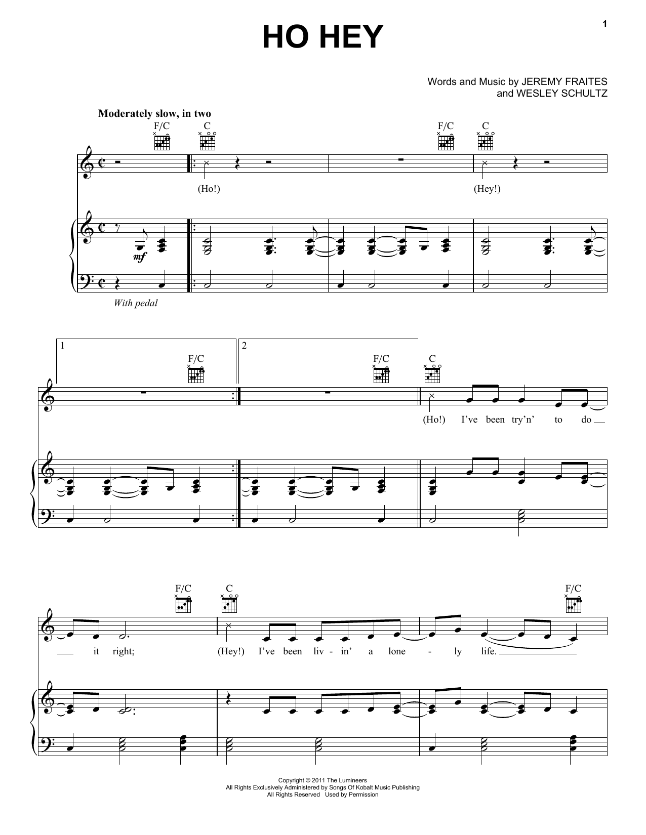 The Lumineers Ho Hey sheet music notes and chords. Download Printable PDF.