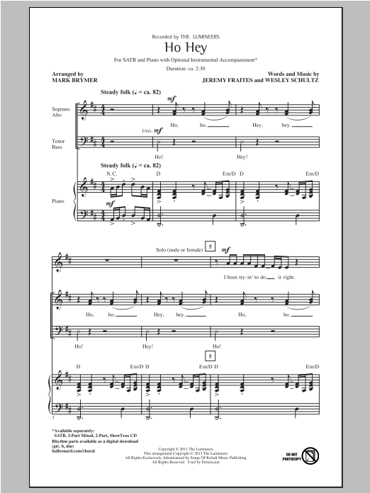The Lumineers Ho Hey (arr. Mark Brymer) sheet music notes and chords. Download Printable PDF.