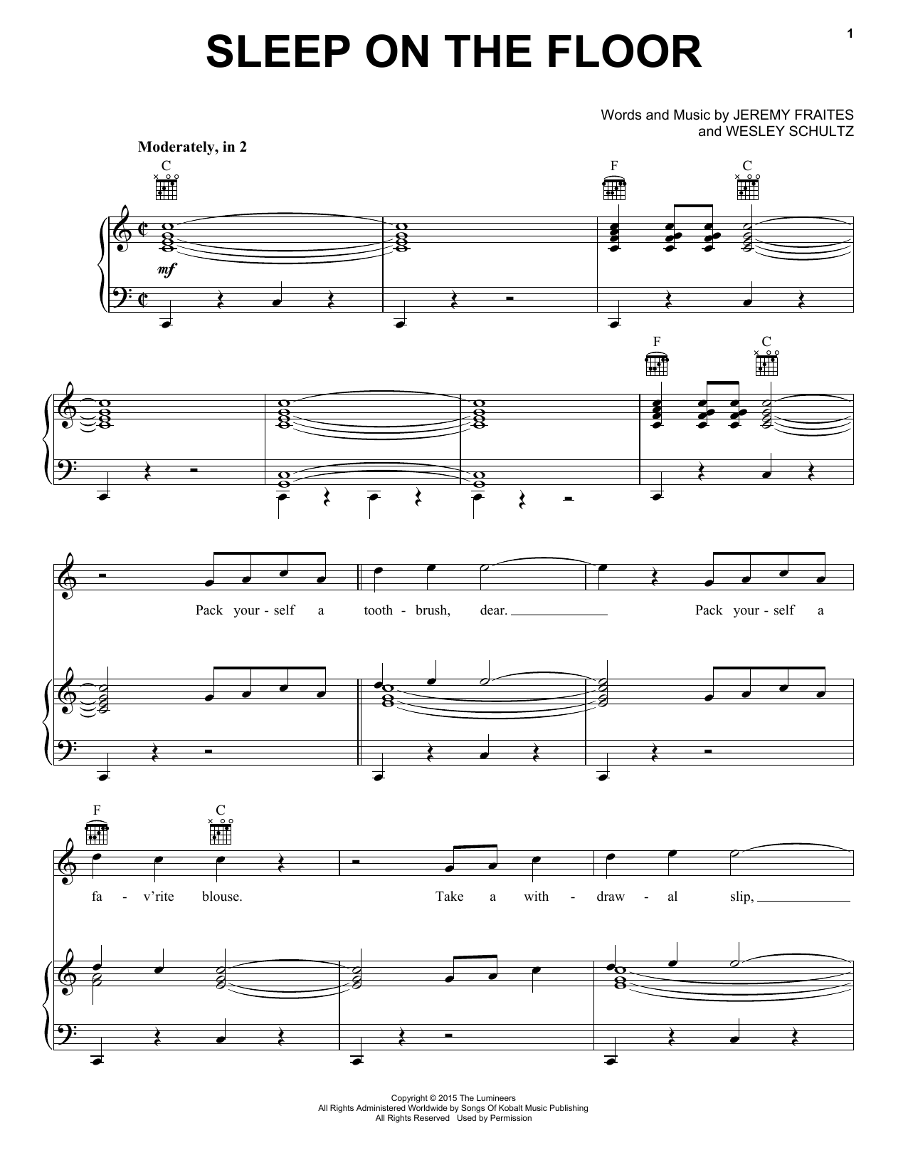 The Lumineers Sleep On The Floor sheet music notes and chords