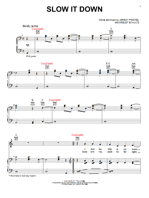 The Lumineers Slow It Down sheet music notes and chords