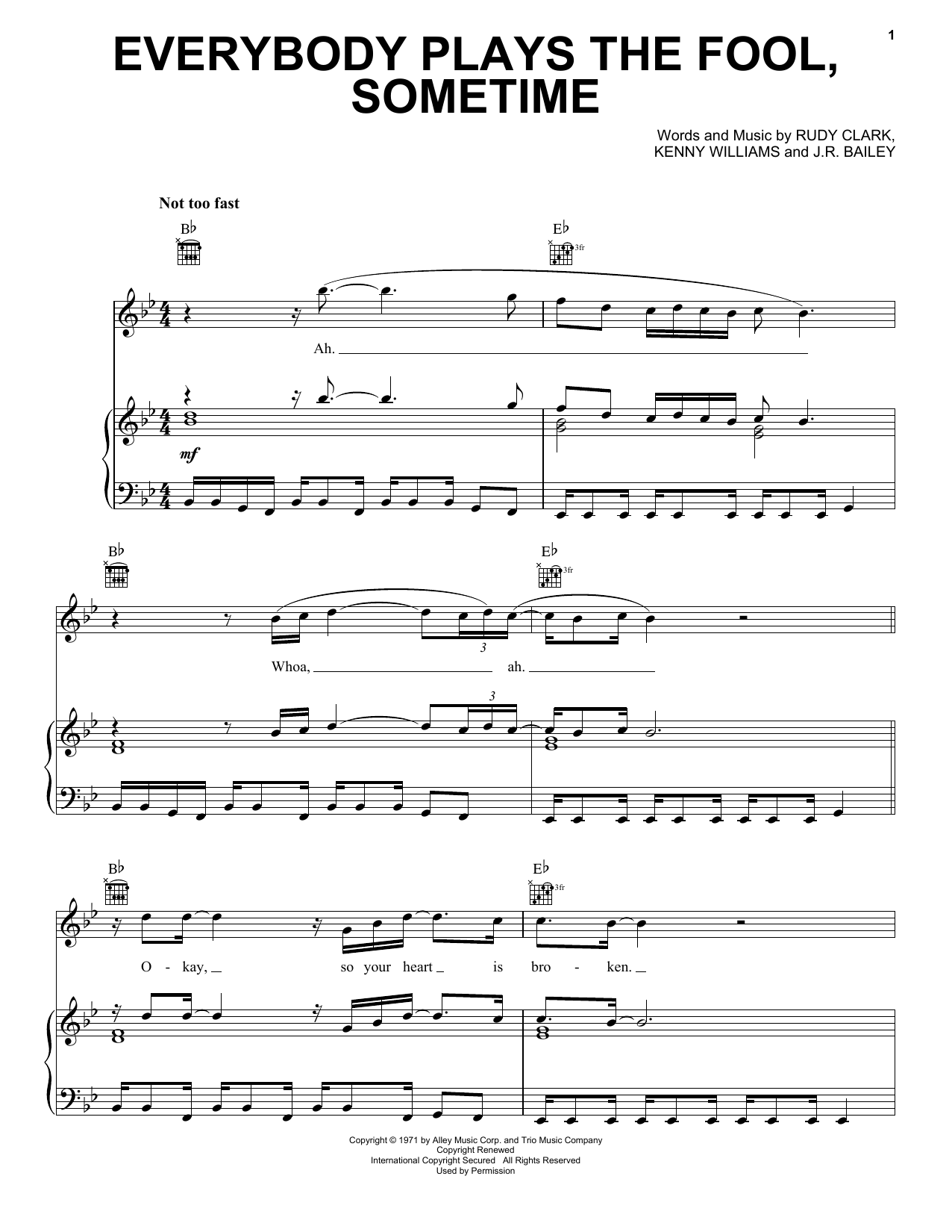 The Main Ingredient Everybody Plays The Fool, Sometime sheet music notes and chords. Download Printable PDF.