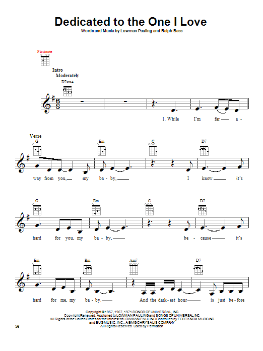 The Mamas & The Papas Dedicated To The One I Love sheet music notes and chords. Download Printable PDF.