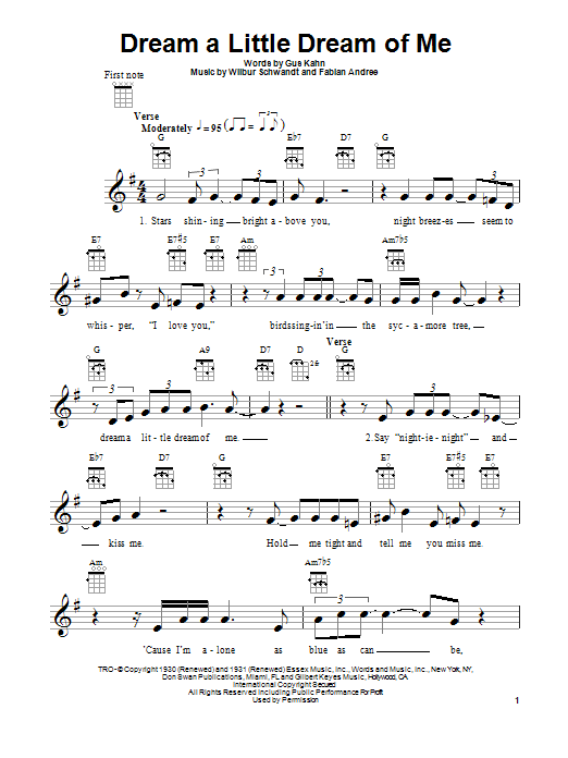 The Beautiful South Dream A Little Dream Of Me sheet music notes and chords. Download Printable PDF.