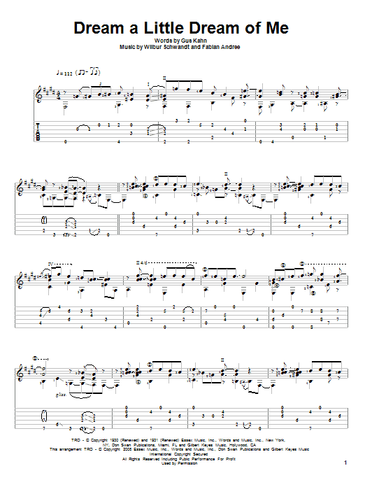 The Mamas & The Papas Dream A Little Dream Of Me sheet music notes and chords. Download Printable PDF.