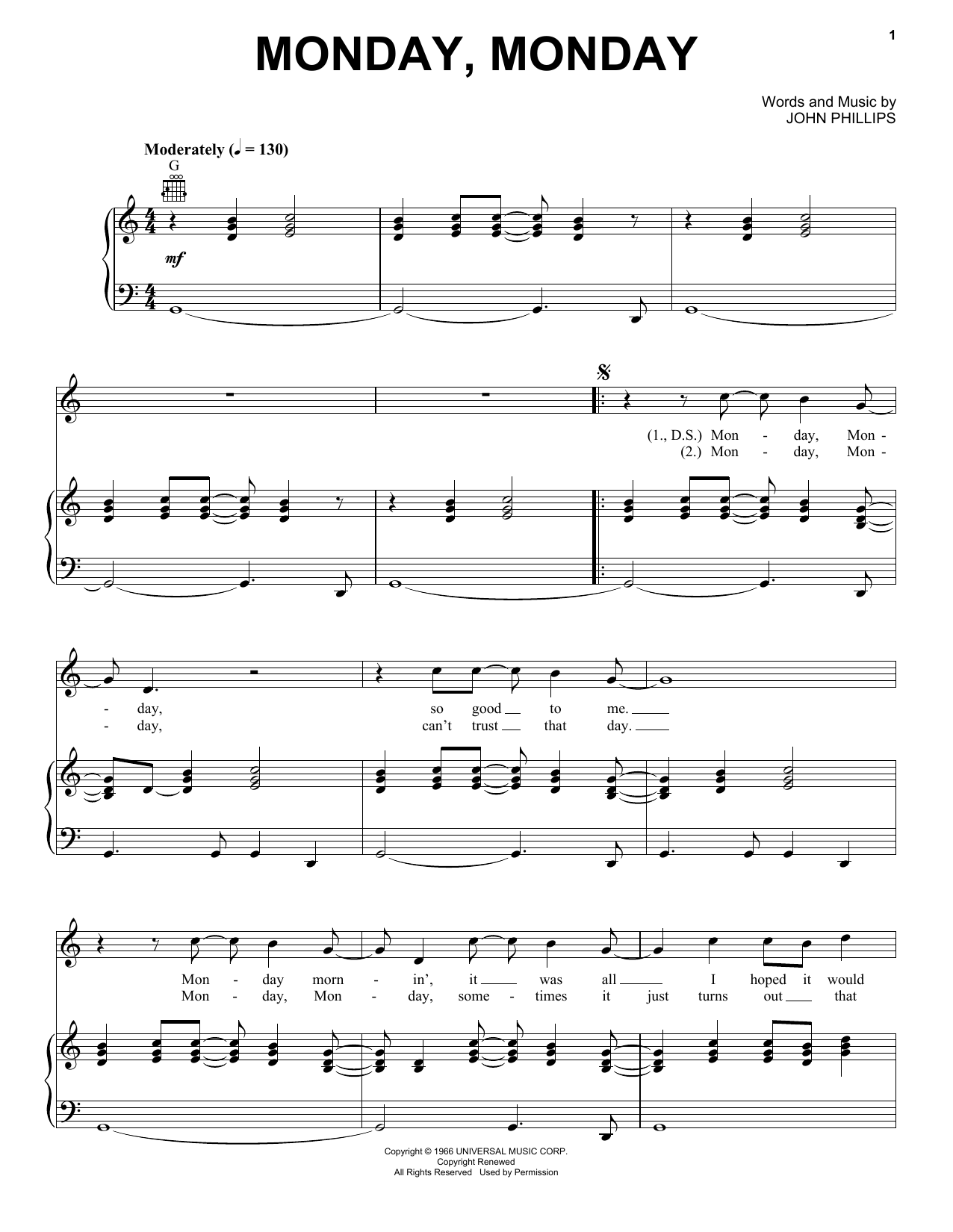 The Mamas & The Papas Monday, Monday sheet music notes and chords. Download Printable PDF.
