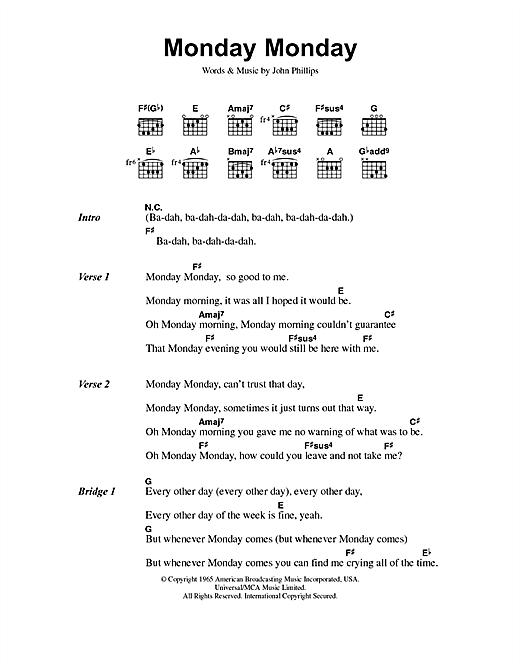 The Mamas & The Papas Monday Monday sheet music notes and chords