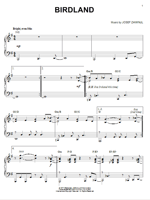 The Manhattan Transfer Birdland sheet music notes and chords