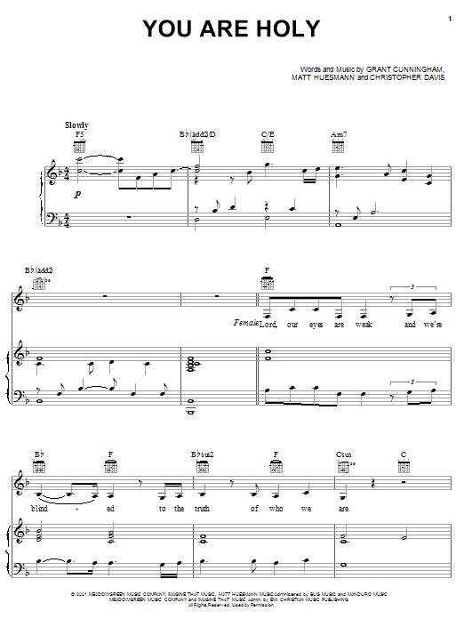 The Martins You Are Holy sheet music notes and chords. Download Printable PDF.