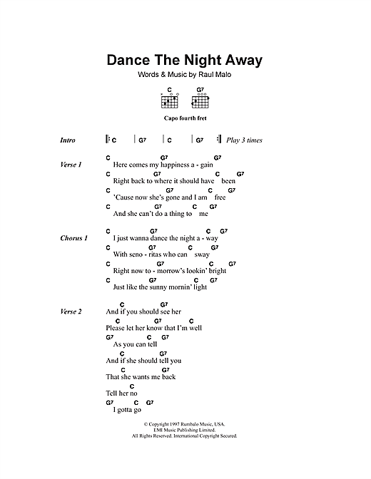The Mavericks Dance The Night Away sheet music notes and chords. Download Printable PDF.