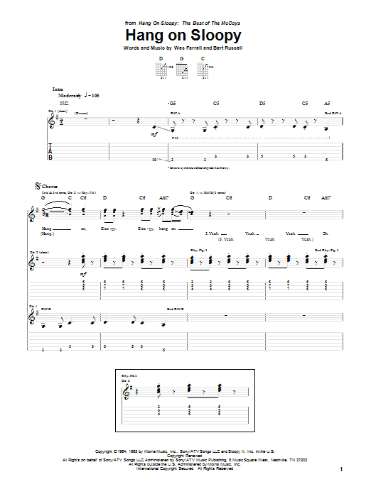The McCoys Hang On Sloopy sheet music notes and chords. Download Printable PDF.