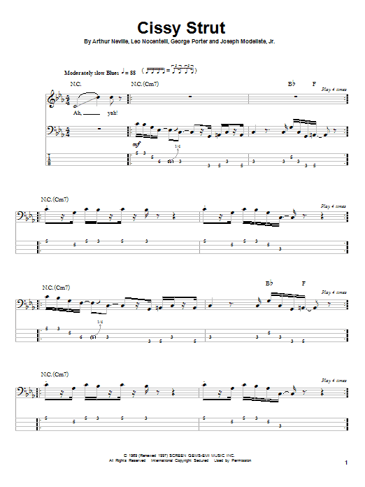 The Meters Cissy Strut sheet music notes and chords. Download Printable PDF.