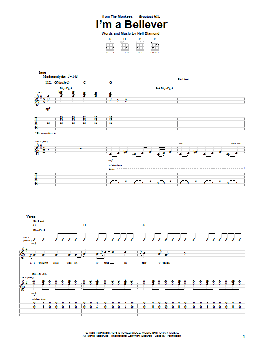 The Monkees I'm A Believer sheet music notes and chords. Download Printable PDF.