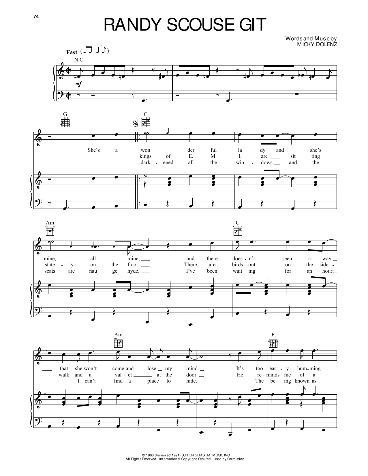 The Monkees Randy Scouse Git sheet music notes and chords. Download Printable PDF.
