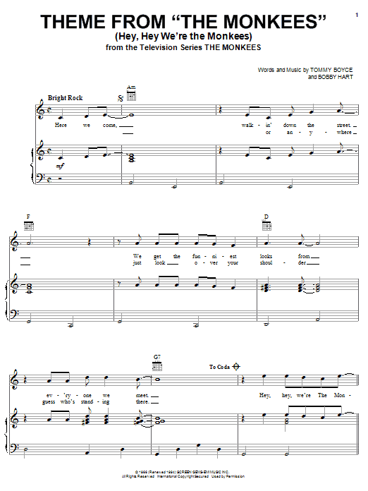 The Monkees Theme from The Monkees (Hey, Hey We're The Monkees) sheet music notes and chords