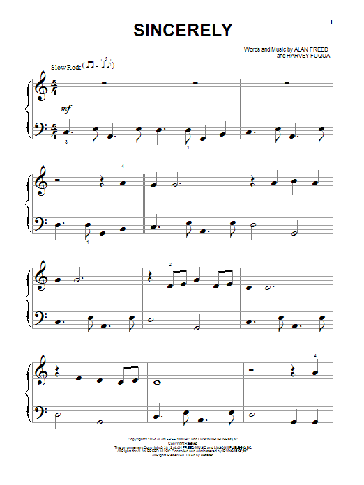 The Moonglows Sincerely sheet music notes and chords. Download Printable PDF.