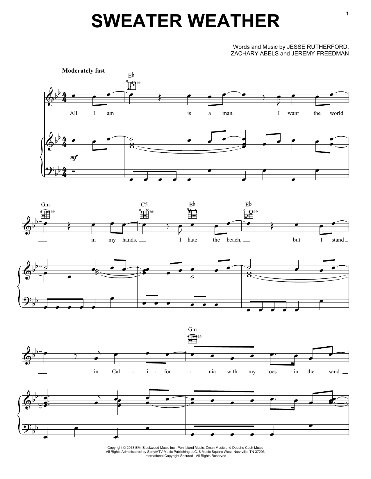 The Neighbourhood Sweater Weather sheet music notes and chords. Download Printable PDF.
