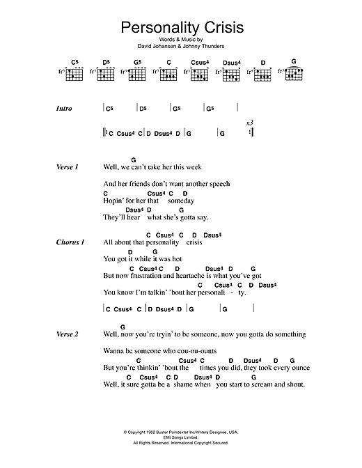The New York Dolls Personality Crisis sheet music notes and chords. Download Printable PDF.