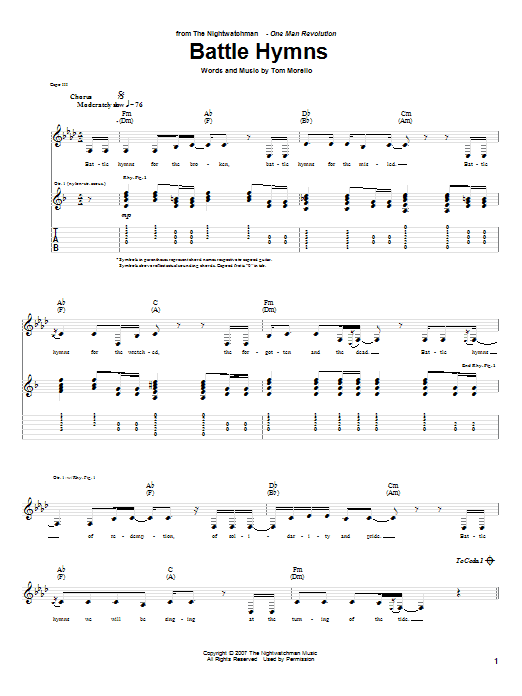 The Nightwatchman Battle Hymns sheet music notes and chords. Download Printable PDF.