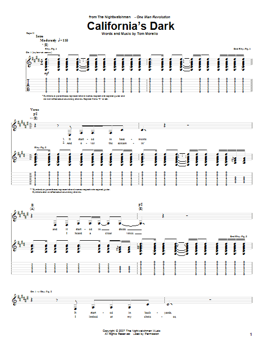 The Nightwatchman California's Dark sheet music notes and chords. Download Printable PDF.