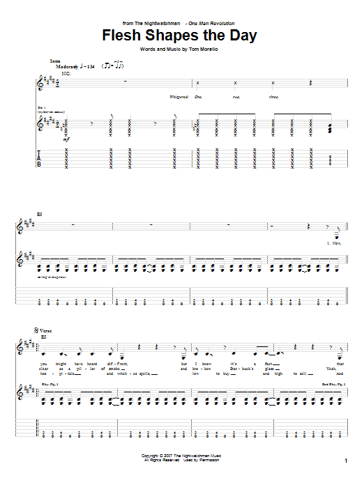 The Nightwatchman Flesh Shapes The Day sheet music notes and chords. Download Printable PDF.