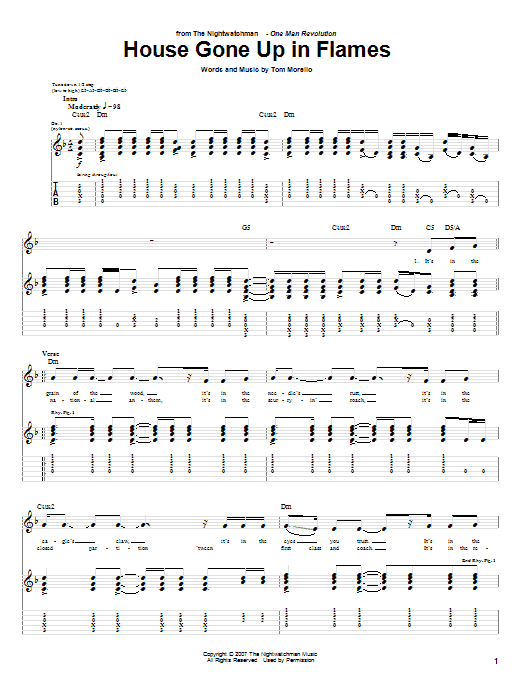 The Nightwatchman House Gone Up In Flames sheet music notes and chords. Download Printable PDF.