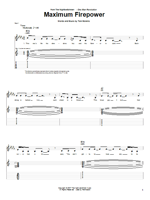 The Nightwatchman Maximum Firepower sheet music notes and chords. Download Printable PDF.