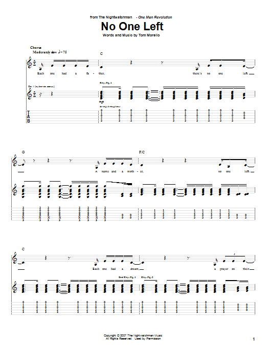 The Nightwatchman No One Left sheet music notes and chords. Download Printable PDF.