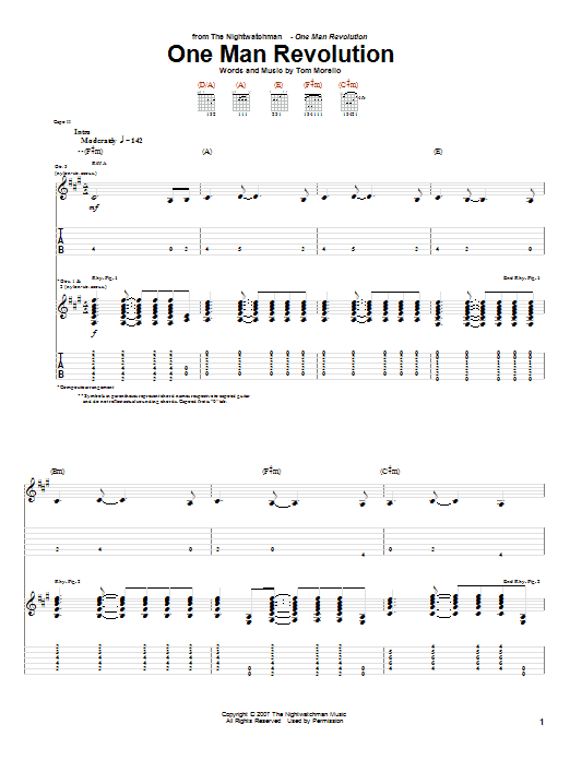 The Nightwatchman One Man Revolution sheet music notes and chords. Download Printable PDF.