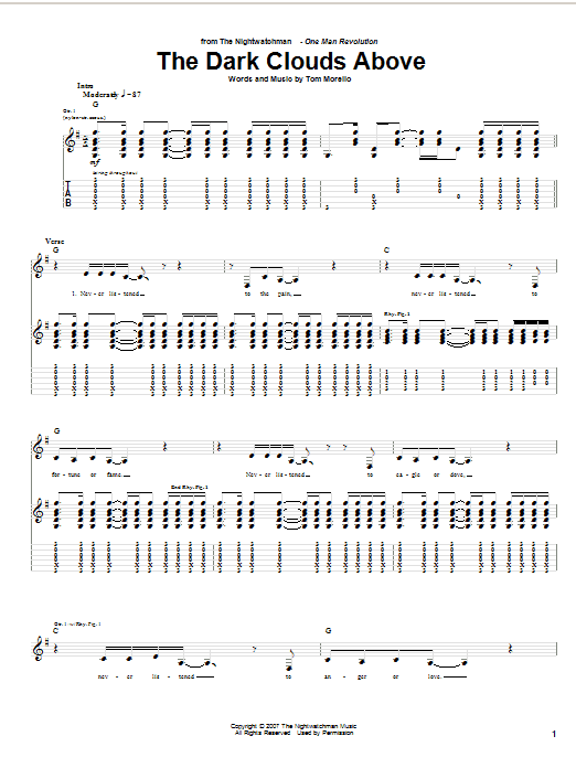 The Nightwatchman The Dark Clouds Above sheet music notes and chords. Download Printable PDF.