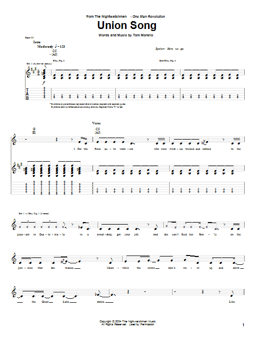 The Nightwatchman Union Song sheet music notes and chords. Download Printable PDF.