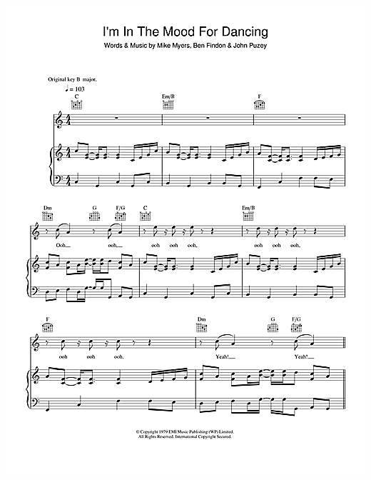 The Nolans I'm In The Mood For Dancing sheet music notes and chords. Download Printable PDF.