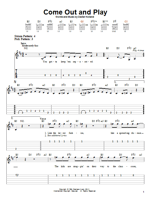 The Offspring Come Out And Play sheet music notes and chords. Download Printable PDF.