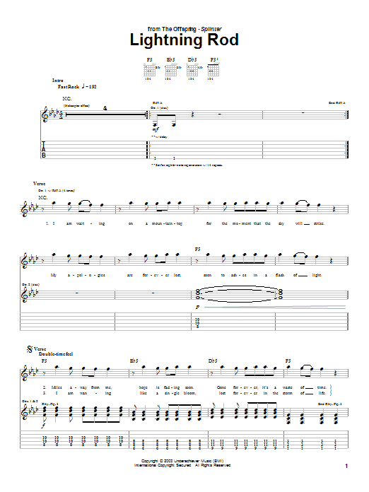 The Offspring Lightning Rod sheet music notes and chords