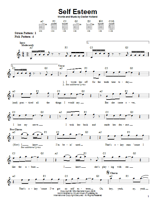 The Offspring Self Esteem sheet music notes and chords. Download Printable PDF.