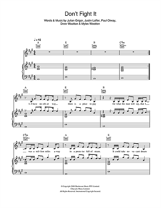 The Panics Don't Fight It sheet music notes and chords. Download Printable PDF.