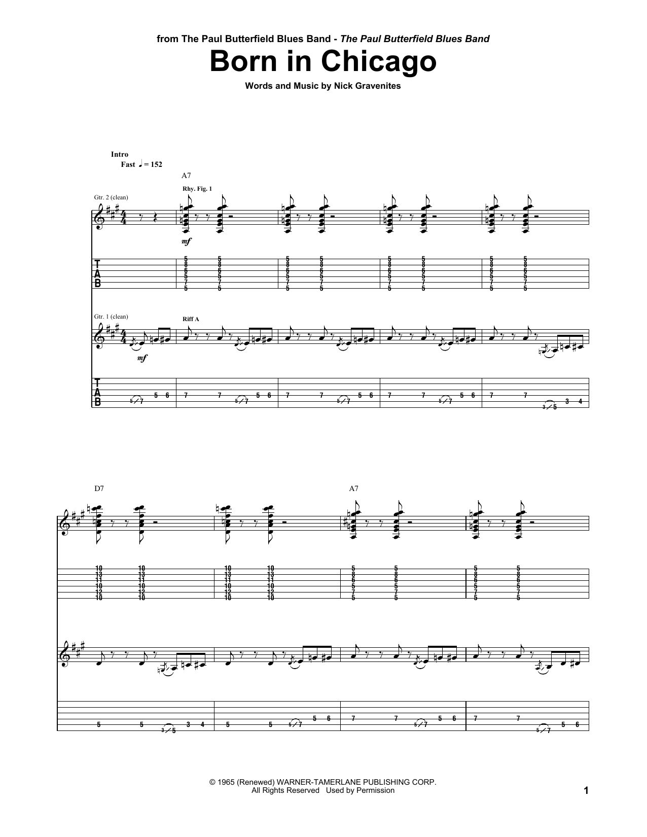 The Paul Butterfield Blues Band Born In Chicago sheet music notes and chords. Download Printable PDF.