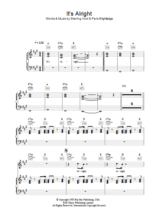 Pet Shop Boys It's Alright sheet music notes and chords. Download Printable PDF.
