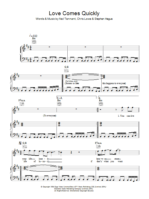 Pet Shop Boys Love Comes Quickly sheet music notes and chords. Download Printable PDF.
