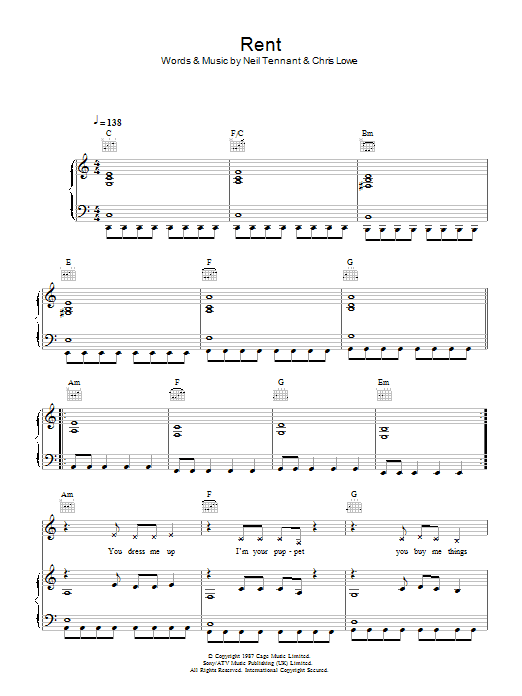 Pet Shop Boys Rent sheet music notes and chords. Download Printable PDF.