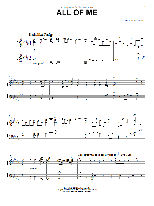 The Piano Guys All Of Me sheet music notes and chords