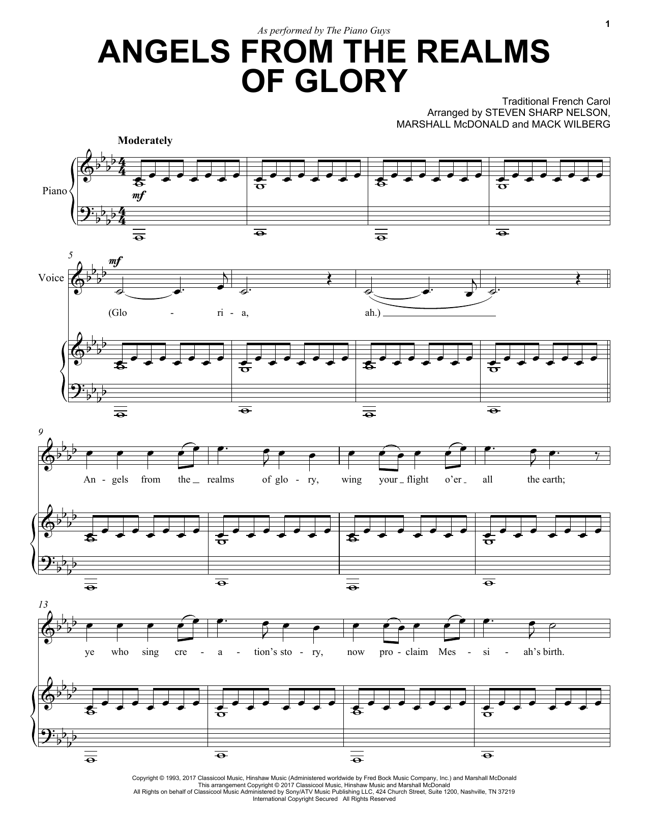 The Piano Guys Angels From The Realms Of Glory sheet music notes and chords