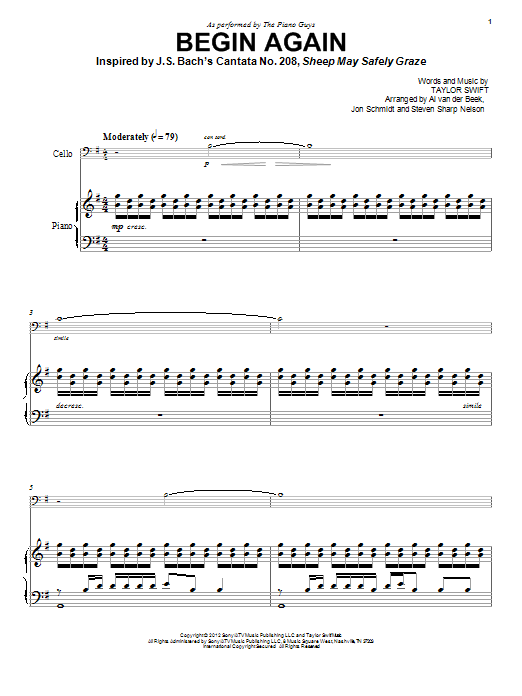 The Piano Guys Begin Again sheet music notes and chords. Download Printable PDF.