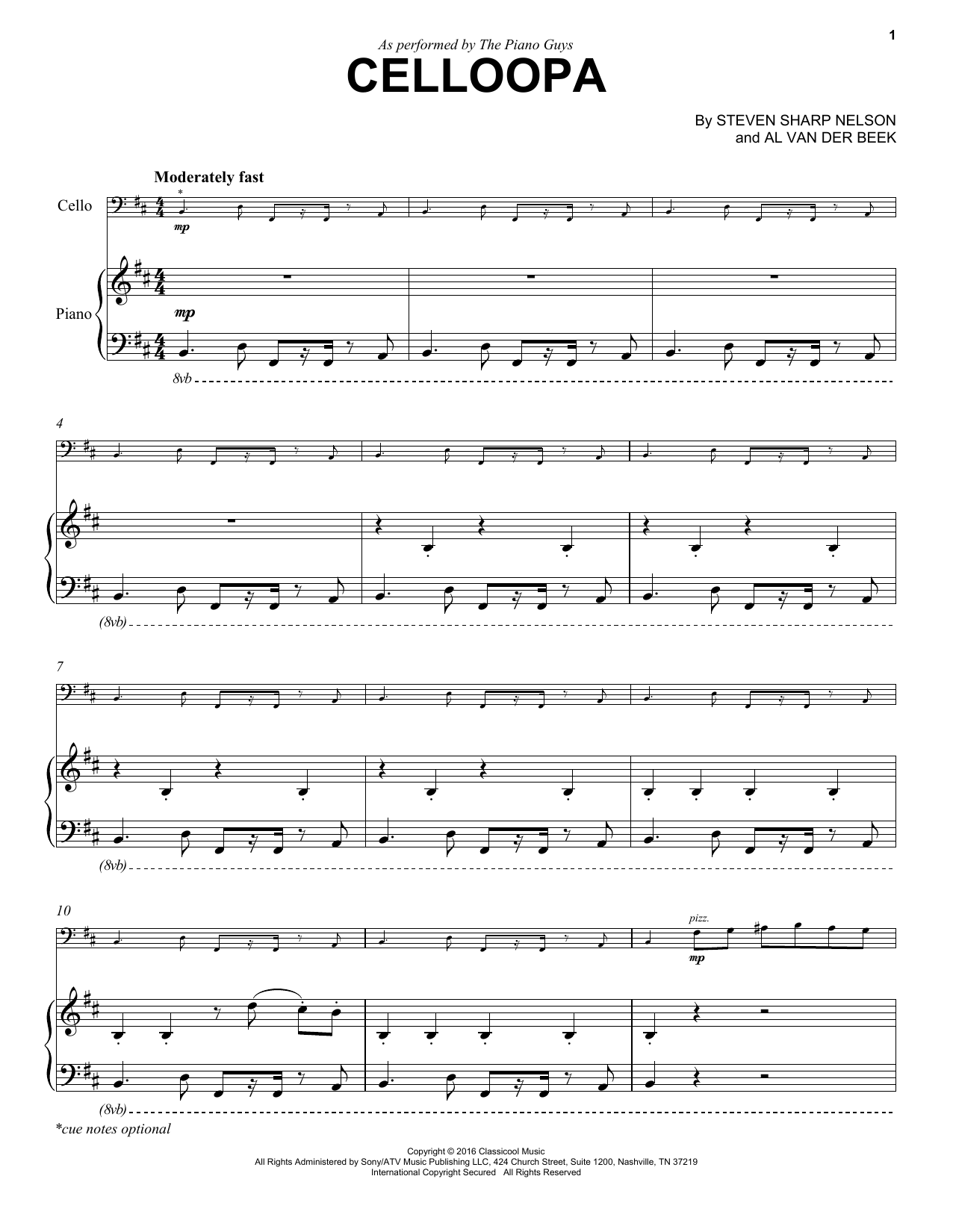The Piano Guys Celloopa sheet music notes and chords. Download Printable PDF.
