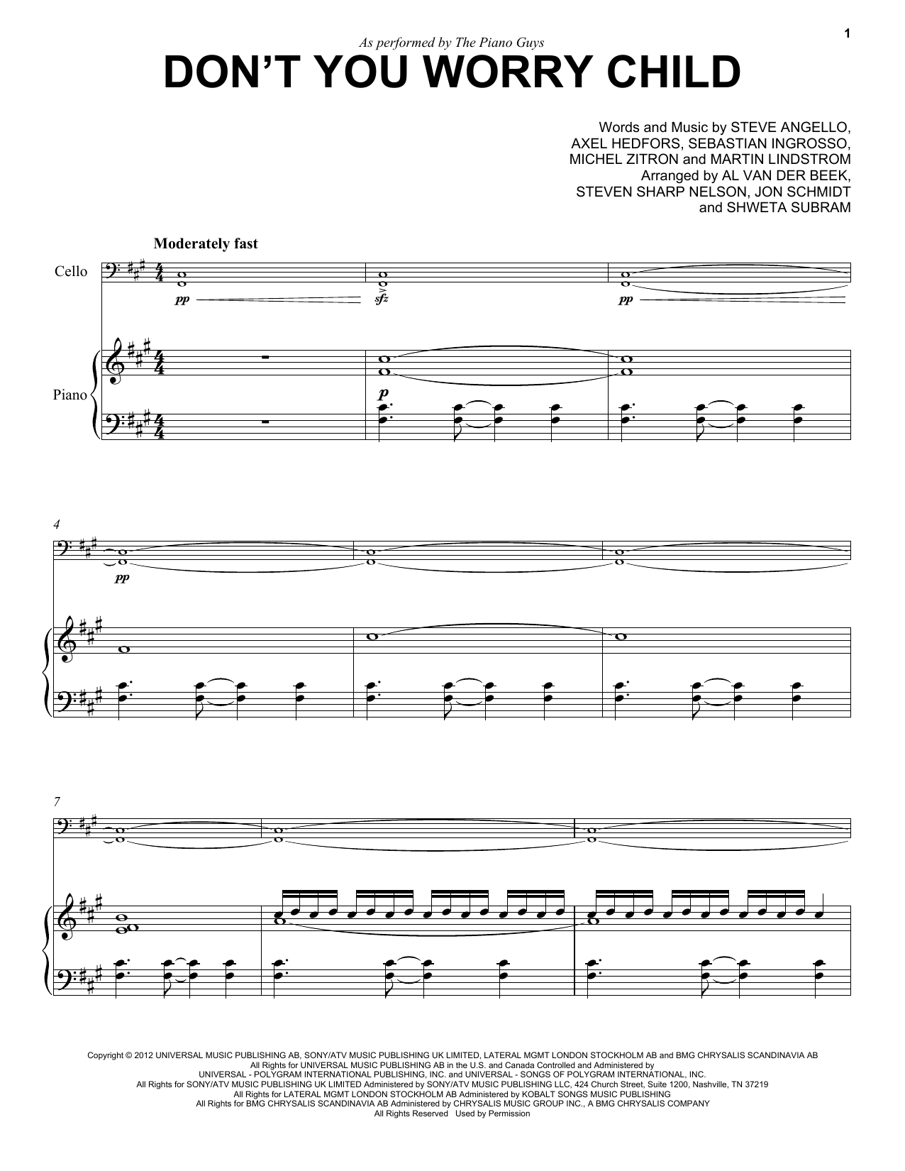 The Piano Guys Don T You Worry Child Sheet Music Pdf Notes Chords New Age Score Piano Solo Download Printable Sku 159318
