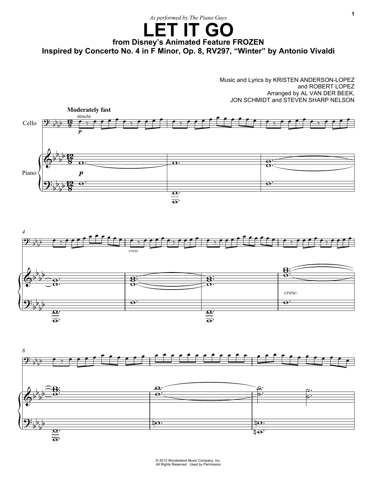 The Piano Guys 'Let It Go (from Frozen)' Sheet Music Notes, Chords |  Download Printable Cello and Piano - SKU: 153863